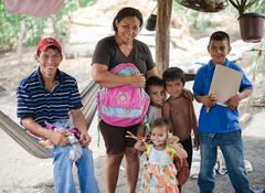 Cerro Negro family with the childrens new school supplies