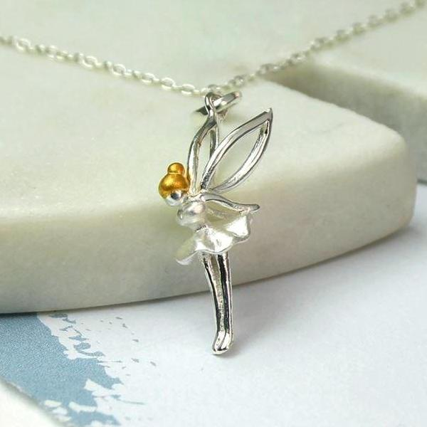 Necklace with green fairy pendant in silver plate