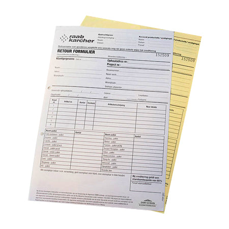 2 Pages Carbonless Forms One Color