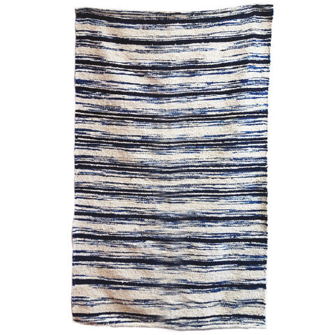 Blue & White Stripes Wool Rug