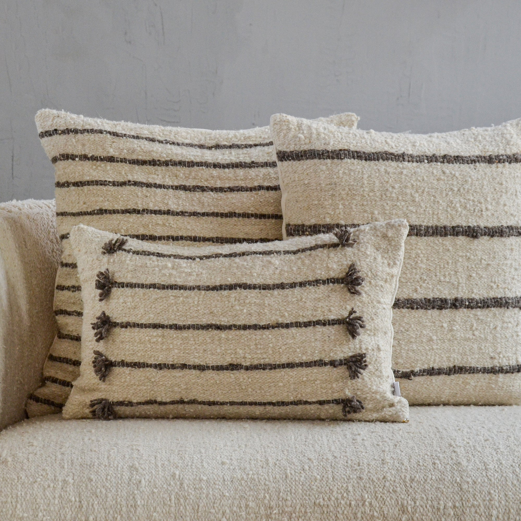 Gray Wool Pillow Covers