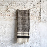 Napped Wool White and Dark Gray Throw