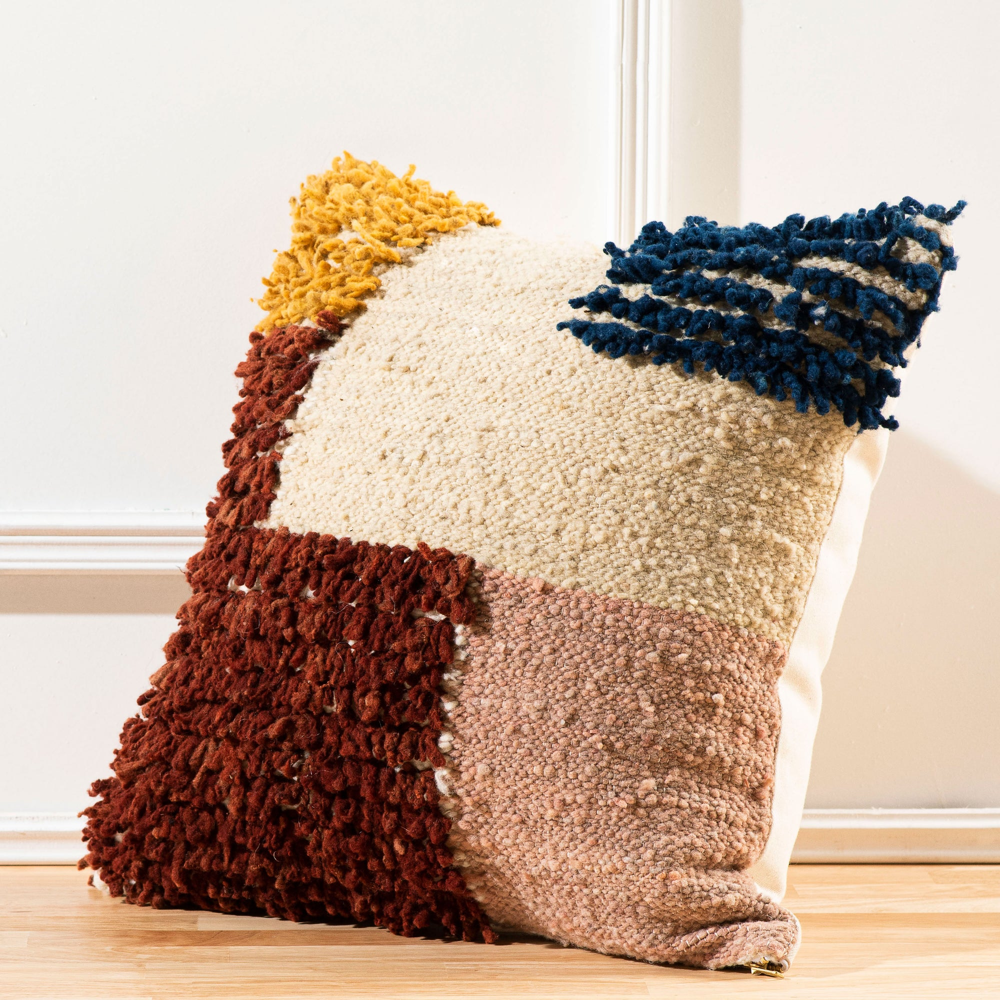 Color Block Wool Pillow Covers