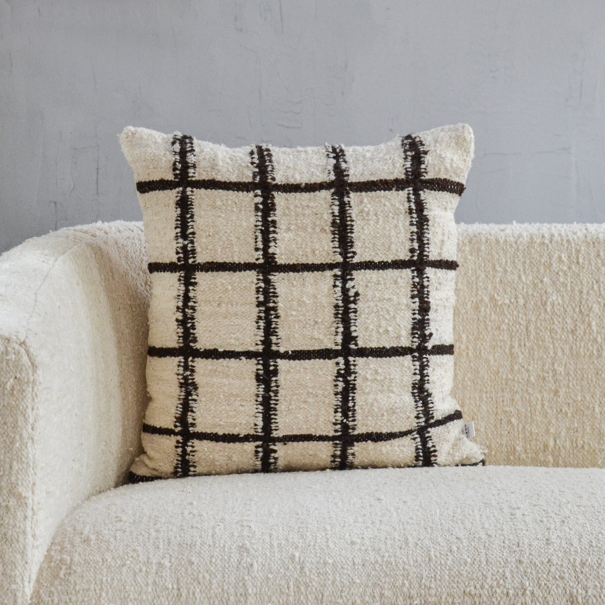 Grid Wool Pillow Cover