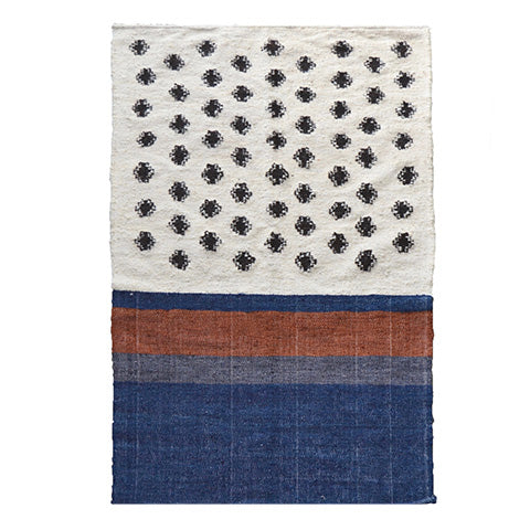 Blue Dotted Wool Rug