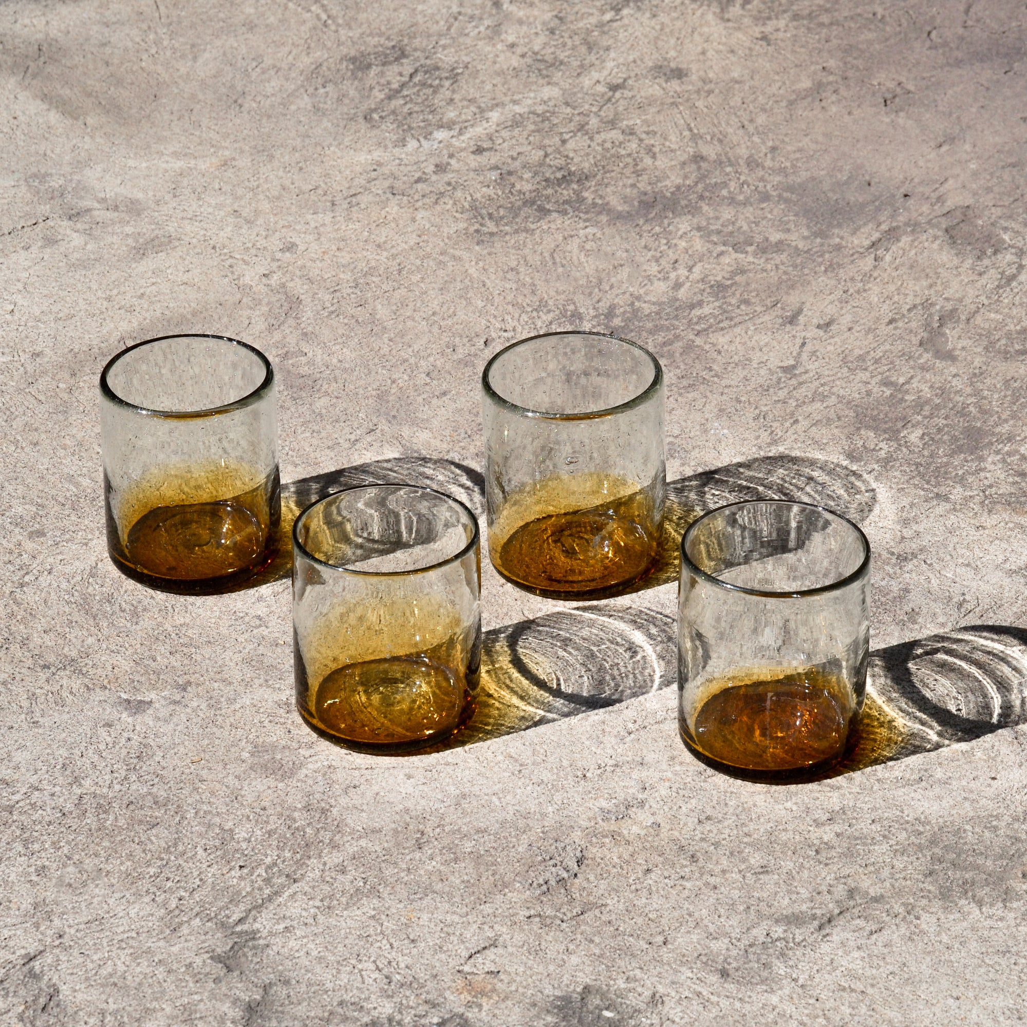Short Clear & Amber Recycled Glass (Set of 4)