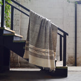 Napped Wool White and Light Gray Throw