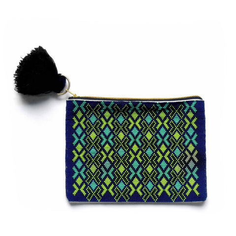 Green Beaded Pouch