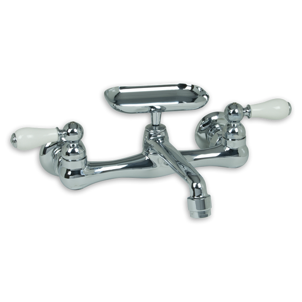 American Standard Heritage Two Handle Wall Mount Kitchen Faucet with Soap Dish 7295.252