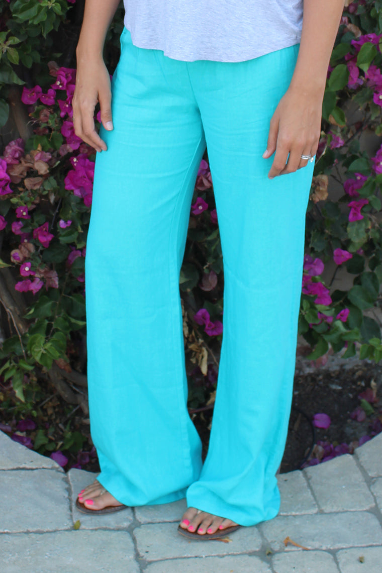 Brooklyn - Linen Pants, Teal