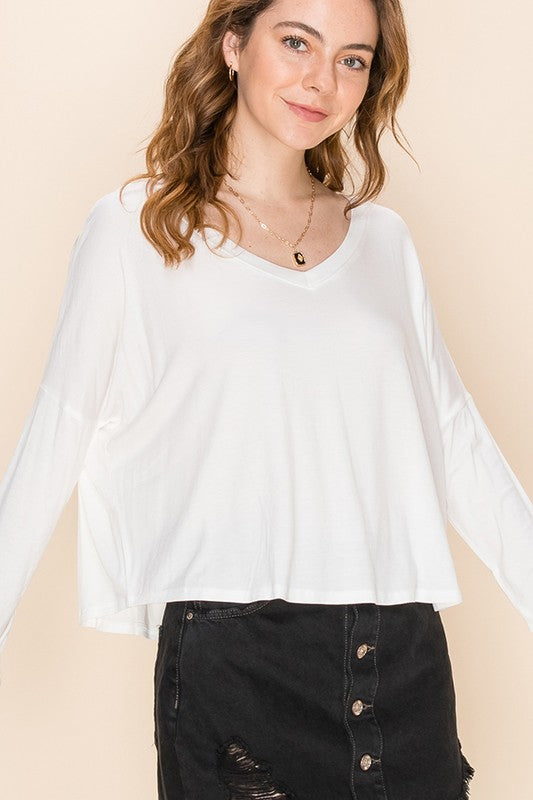 Ali - Long Sleeve Swing Top, Off White