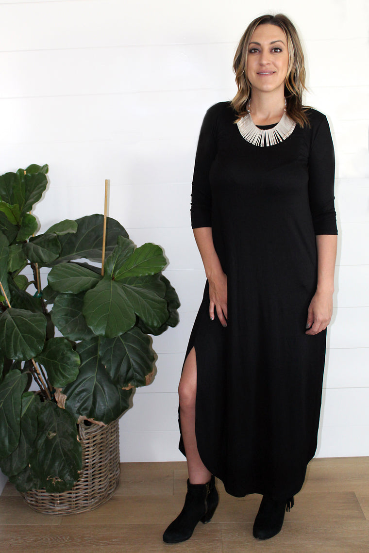 Amber - 3/4 Sleeve Maxi Dress, Black