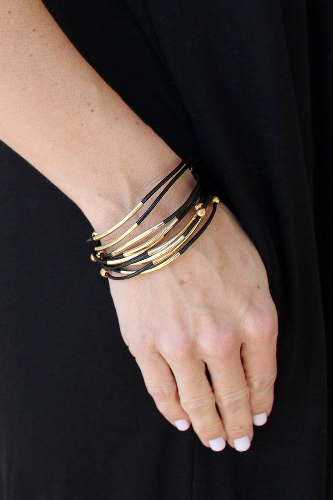 Leather & Metal Bracelet, Black
