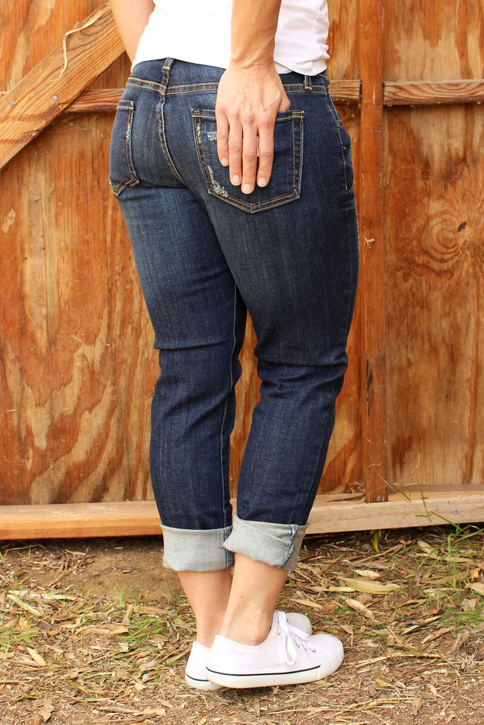 Danice - Boyfriend Jeans, Dark Denim