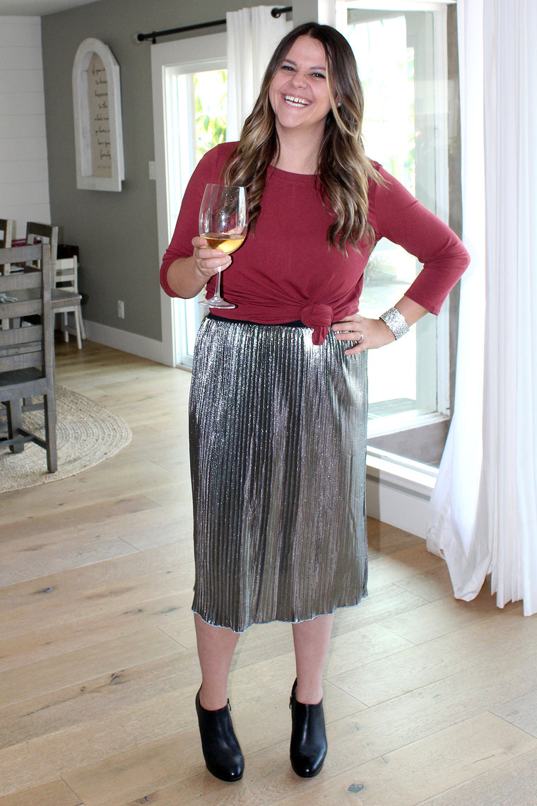 Diamond - Metallic Pleated Skirt
