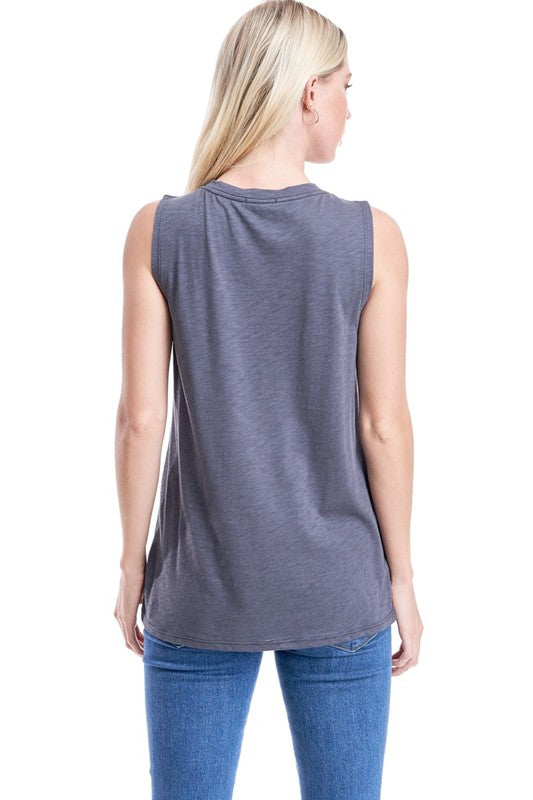 Donnie - Round Neck Tank Top, Charcoal