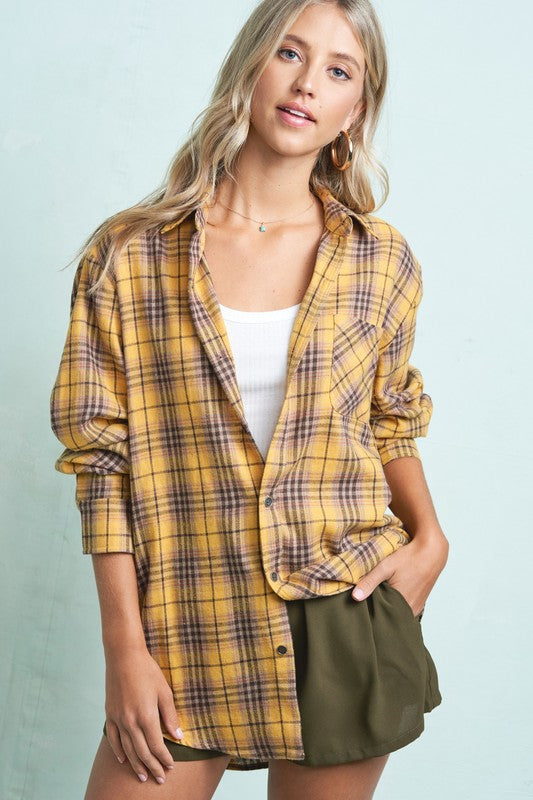 Edith - Boyfriend Shirt, Mustard