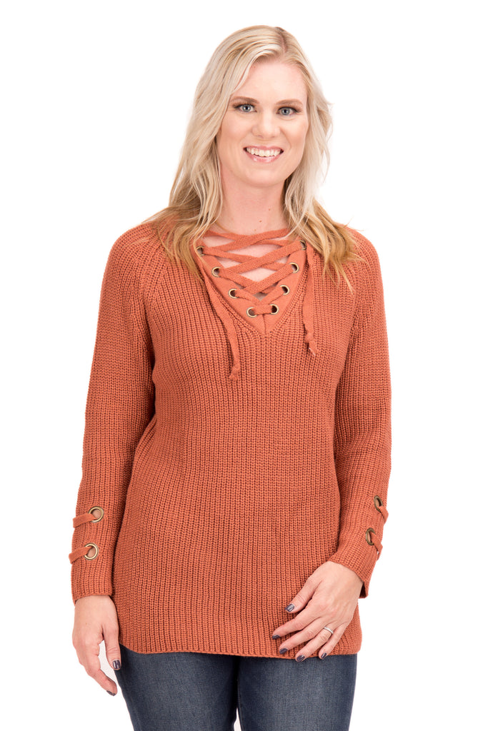 Lydia - Knit Sweater with Tie Front