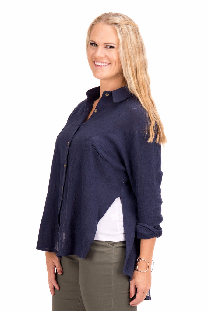 Paula - Button Down Shirt with Side Slits