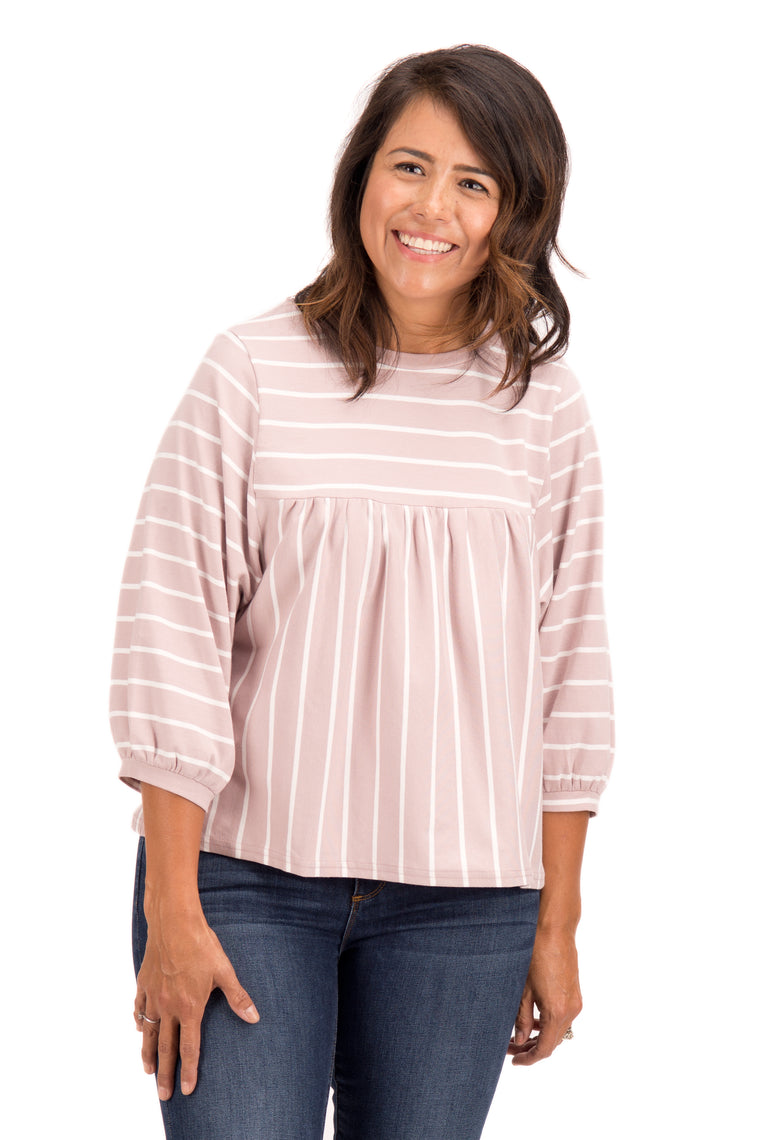 Summer - Striped Fluffy Sleeve Top