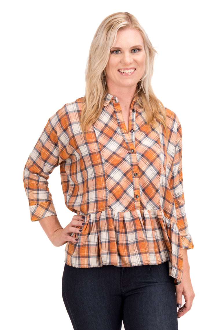 Tina - Plaid Dolman Top