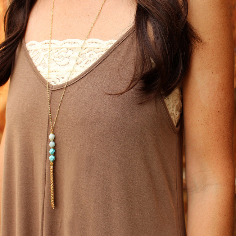 Long Gold Necklace with Turquoise Beads