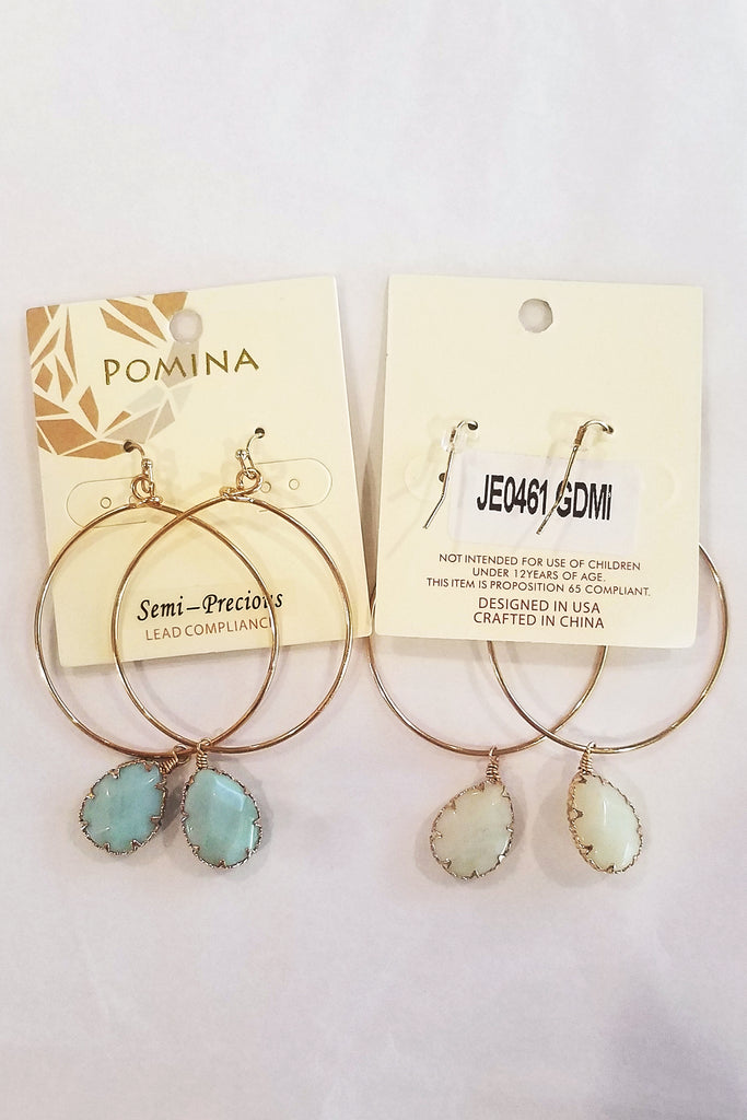 Gold Hoop Earrings with Turquoise Stone