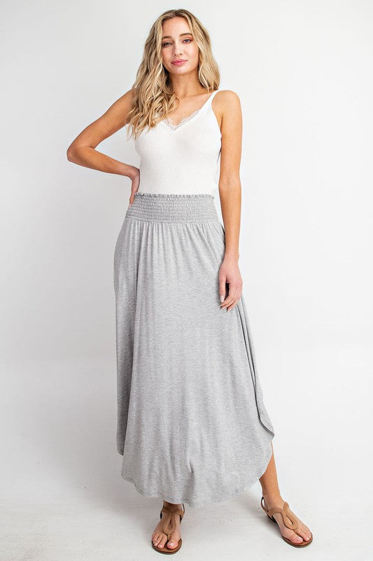 Greyson - Smocked Maxi Skirt, Grey