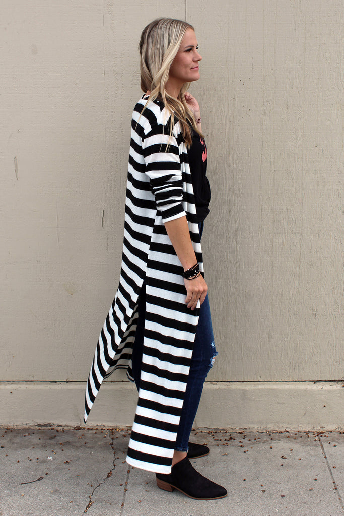 Nora - Striped Duster Cardigan