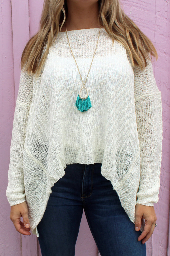Long Necklace with Turquoise Tassel