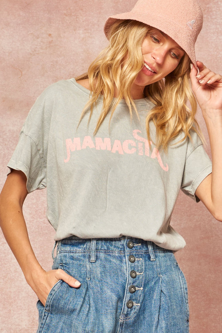 Mamacita Graphic Tee, Slate Blue