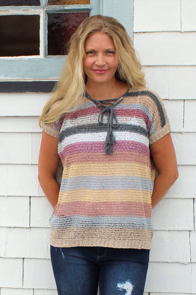 Martha - Striped Short Sleeve Sweater