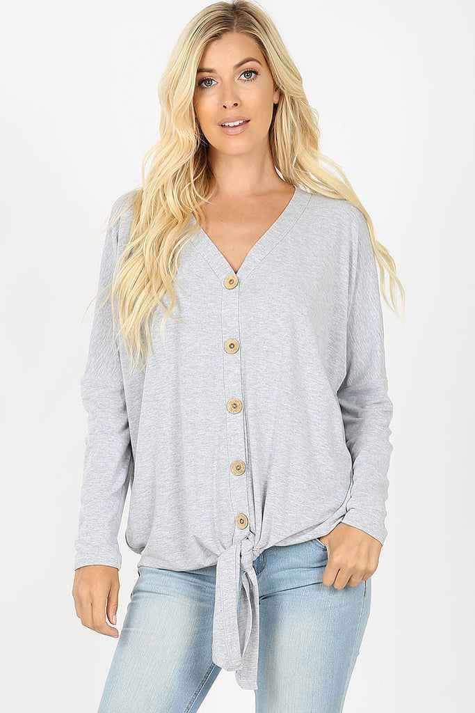 Mary - Long Sleeve Tie-Front Top, Heather Grey