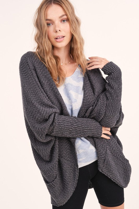 Matilda - Drop Sleeve Cardigan, Charcoal