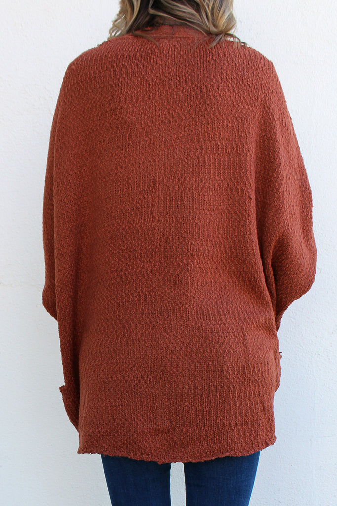 Matilda - Drop Sleeve Cardigan, Rust