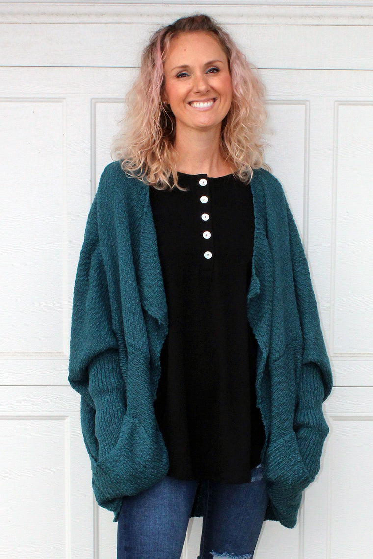Matilda - Drop Sleeve Cardigan, Teal