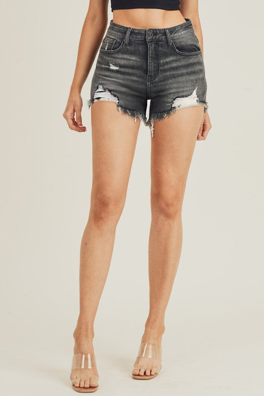 Rachael - Distressed Shorts, Dark Grey