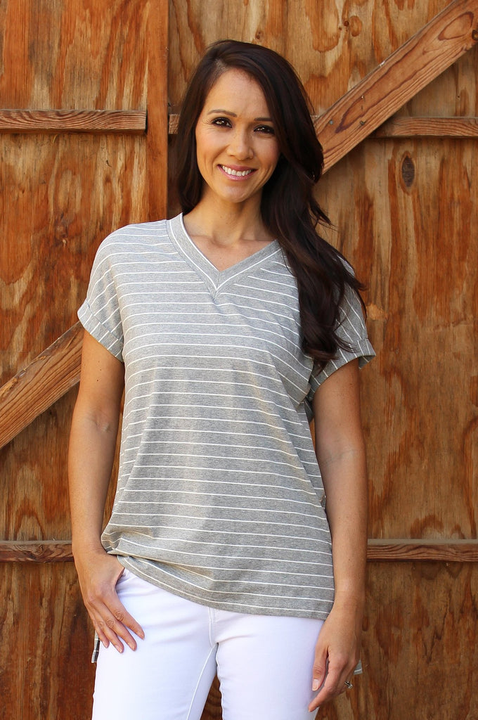 Nina - Striped V-Neck
