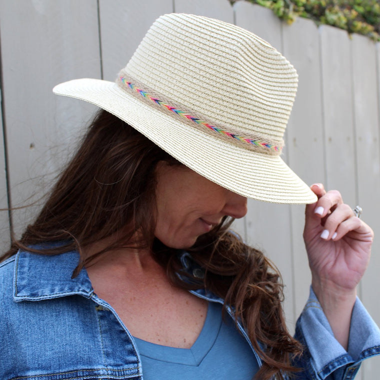 Straw Hat with Multi Colored Band
