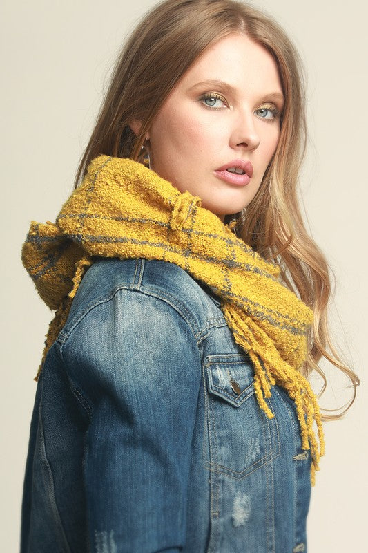 Plaid Infinity Knit Scarf, Mustard