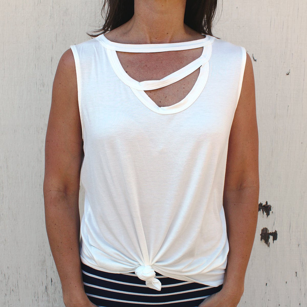 Nora - Cut Out Neck Tank Top, White