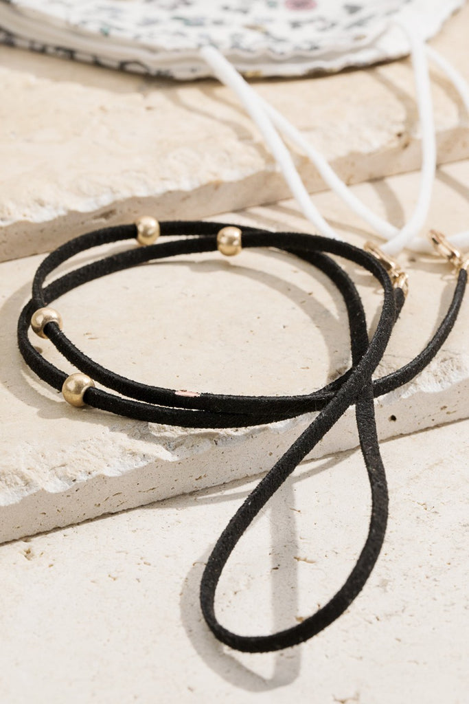 Suede Magic Chain Necklace, Black