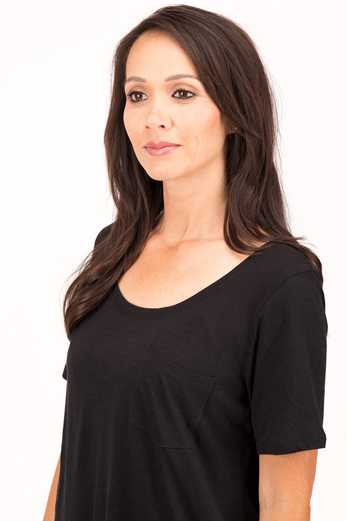 Shelly - Scoop Neck T-Shirt, Black