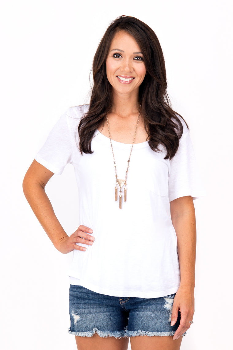 Shelly - Scoop Neck T-Shirt, White