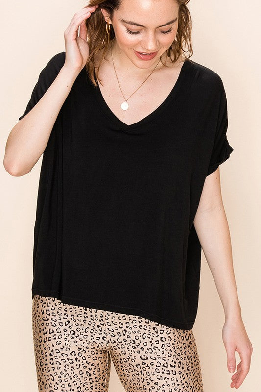 Terry - V-Neck Dolman Tee, Black