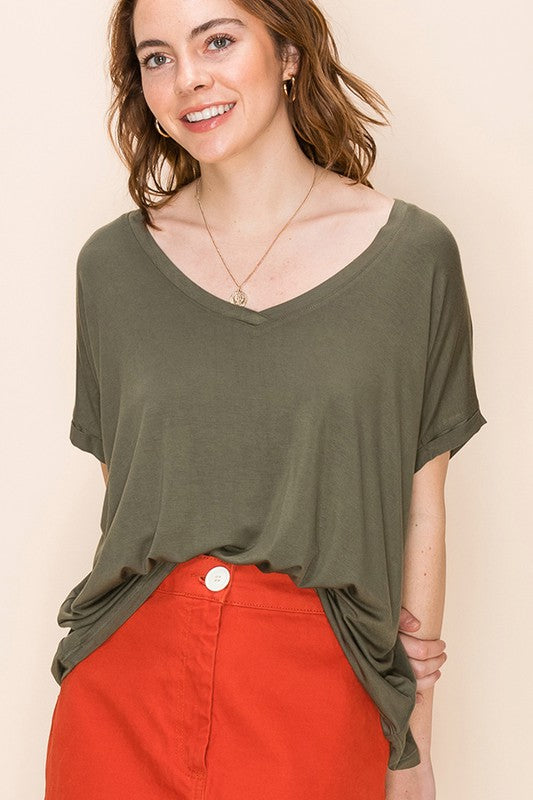 Terry - V-Neck Dolman Tee, Olive