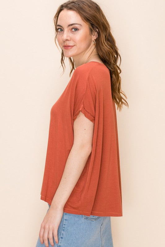 Terry - V-Neck Dolman Tee, Terra Cotta