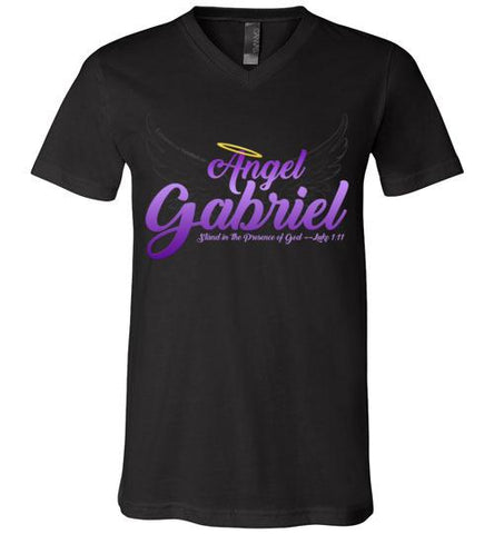 Angel Gabriel Unisex V-Neck T-Shirt (Black) | YahWeh.io