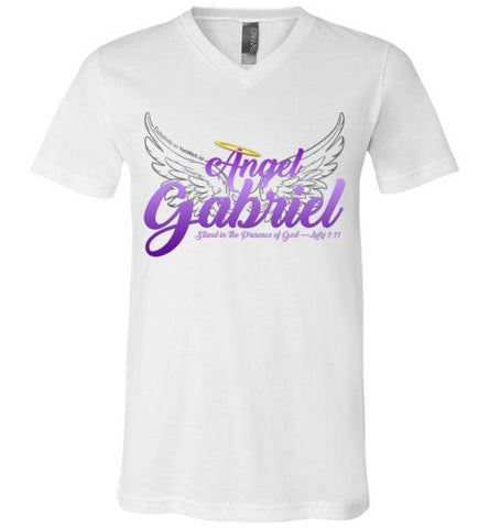 Angel Gabriel Unisex V-Neck T-Shirt (White) | YahWeh.io