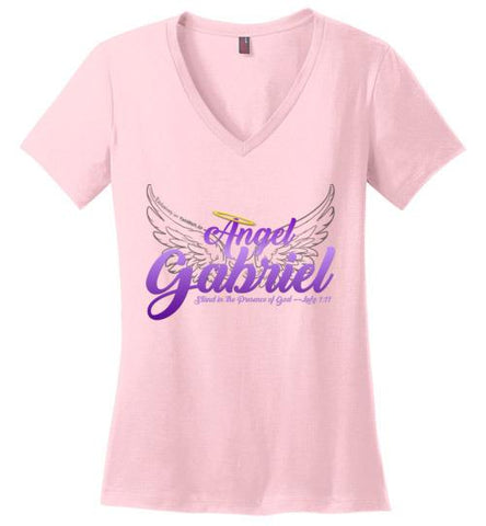 Angel Gabriel Perfect Weight V-Neck T-Shirt (Light Pink) | YahWeh.io